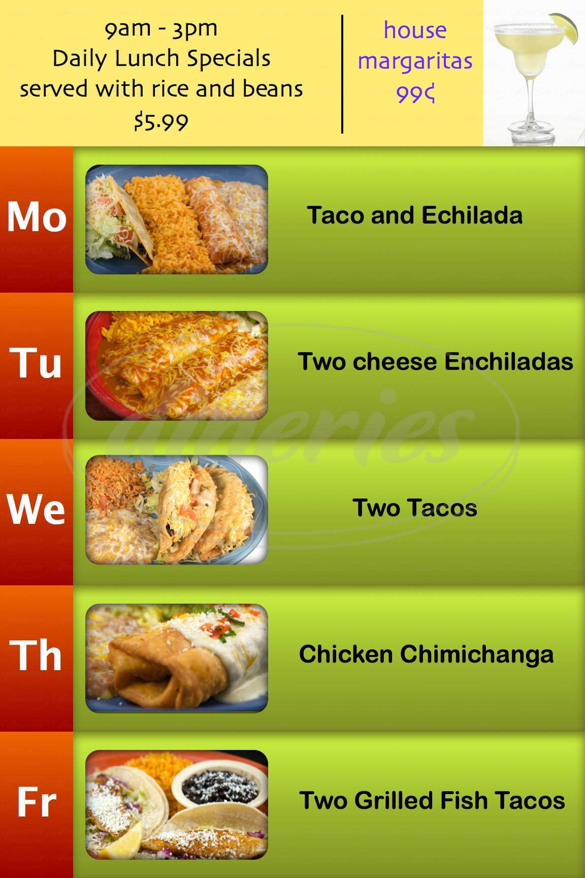 menu for Las Glorias Grill