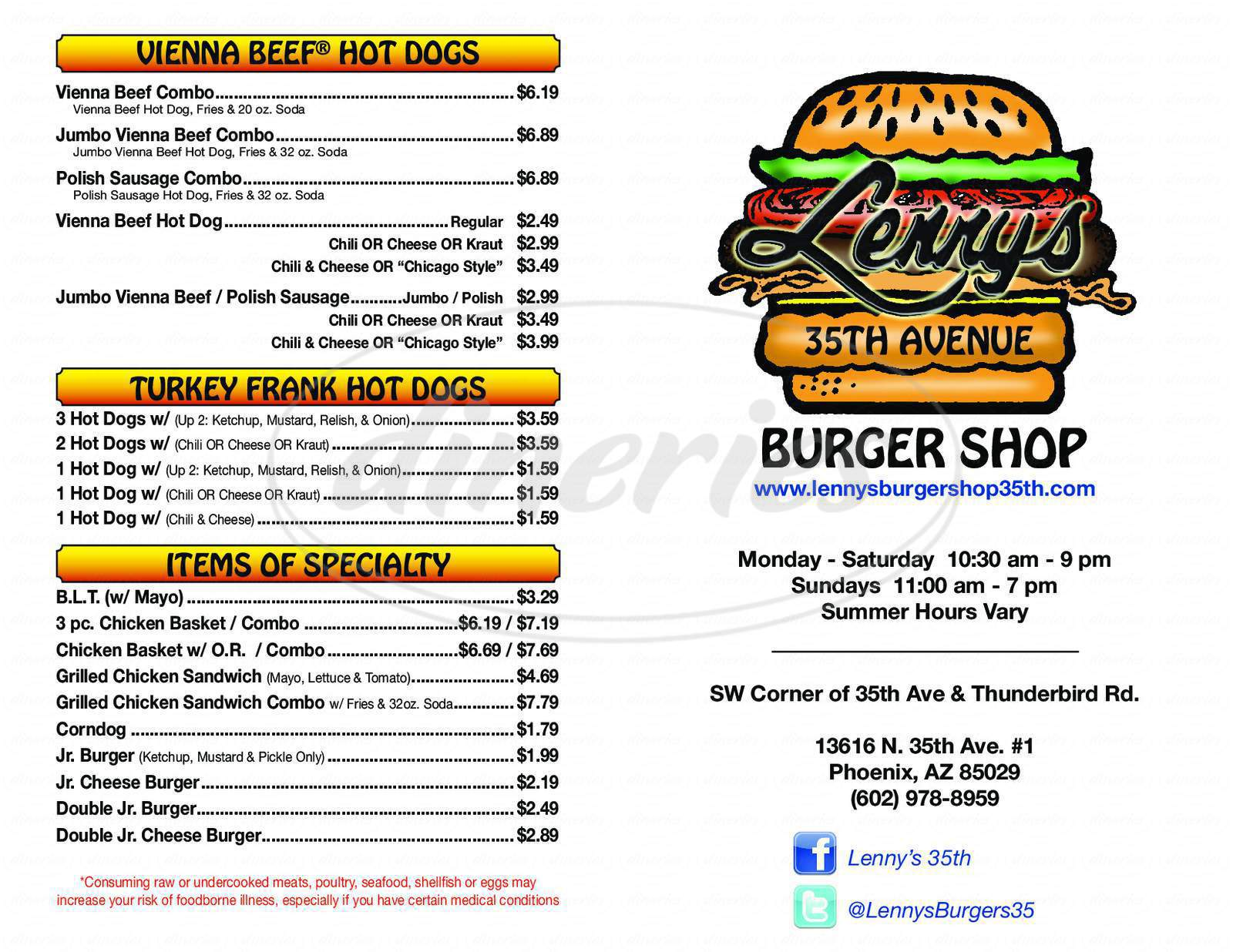 menu for Lenny's Burger Shop