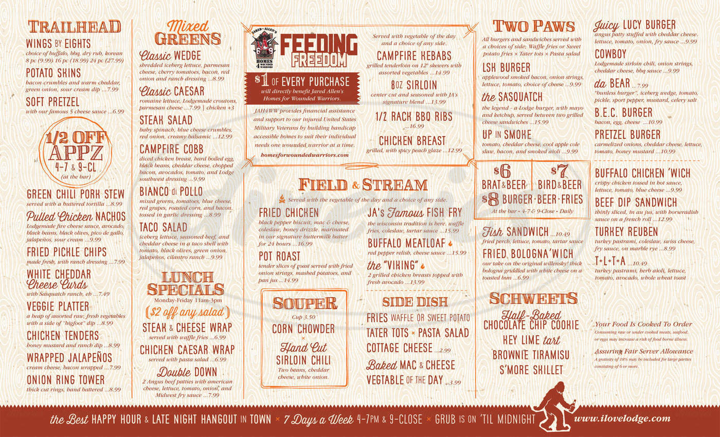menu for The Lodge Sasquatch Kitchen