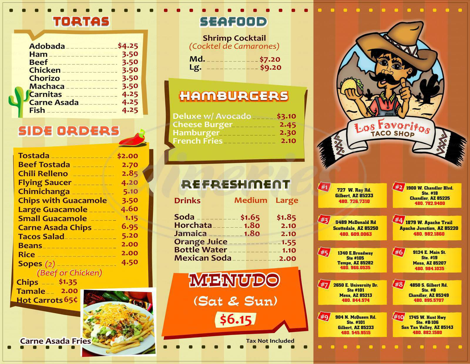 menu for Los Favoritos Taco Shop
