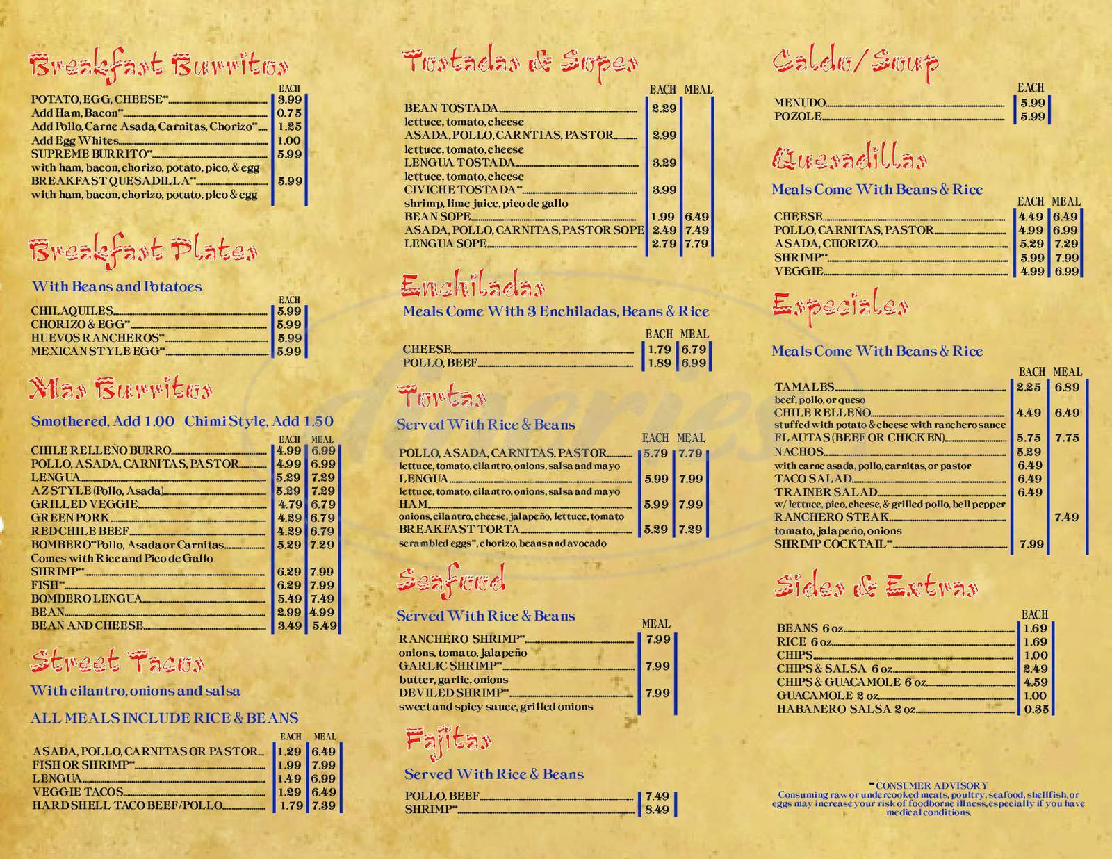 menu for Los Taquitos