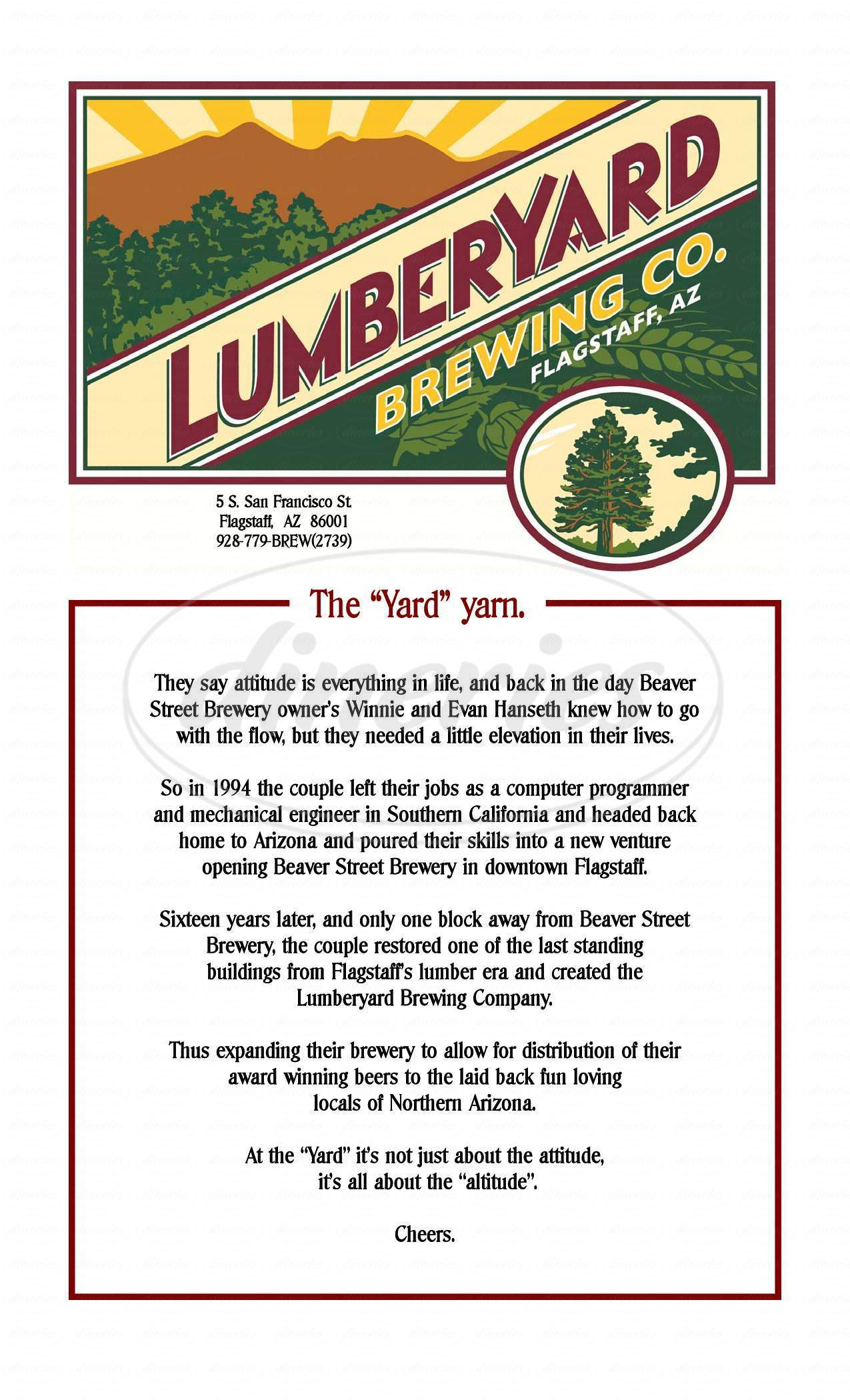 menu for Lumberyard Brewing Company
