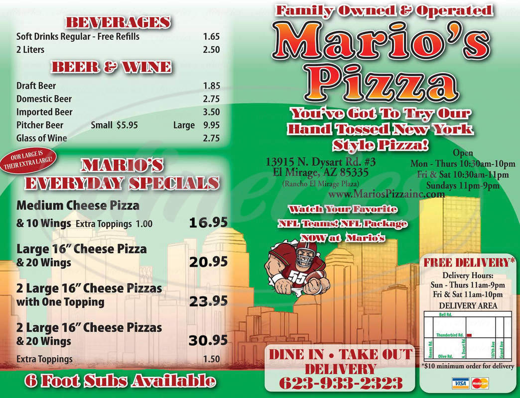 menu for Mario's Pizza
