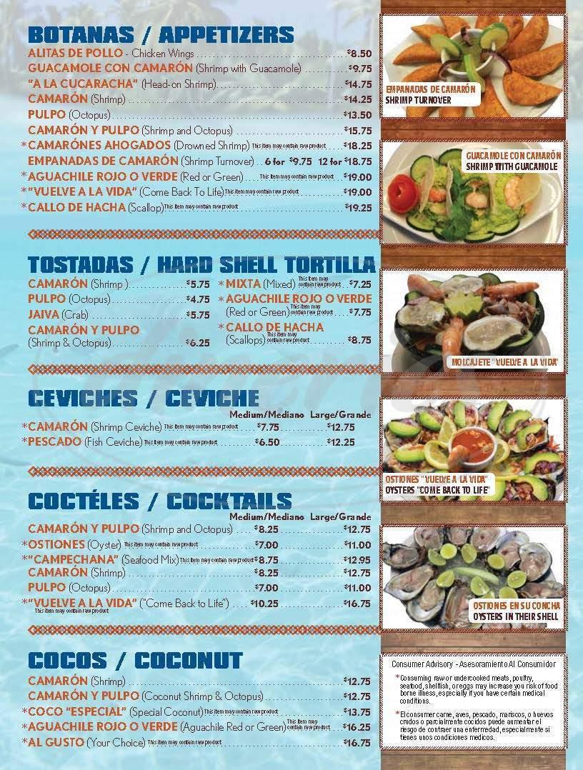 menu for Mariscos Vuelve a La Vida