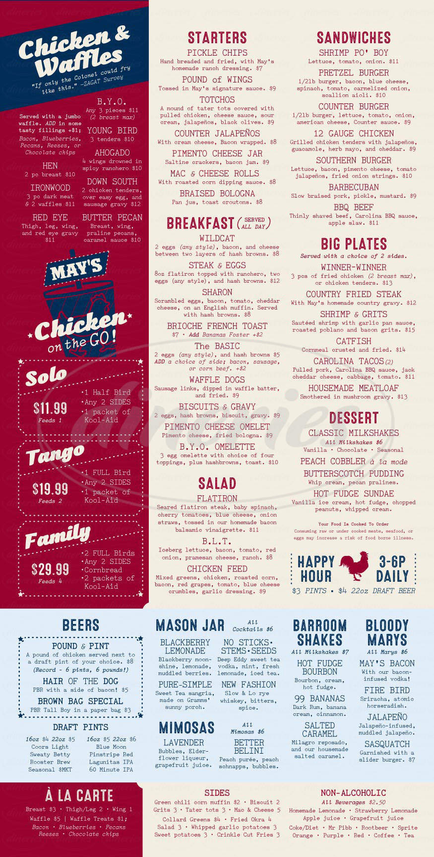 menu for May's Counter Chicken And Waffles