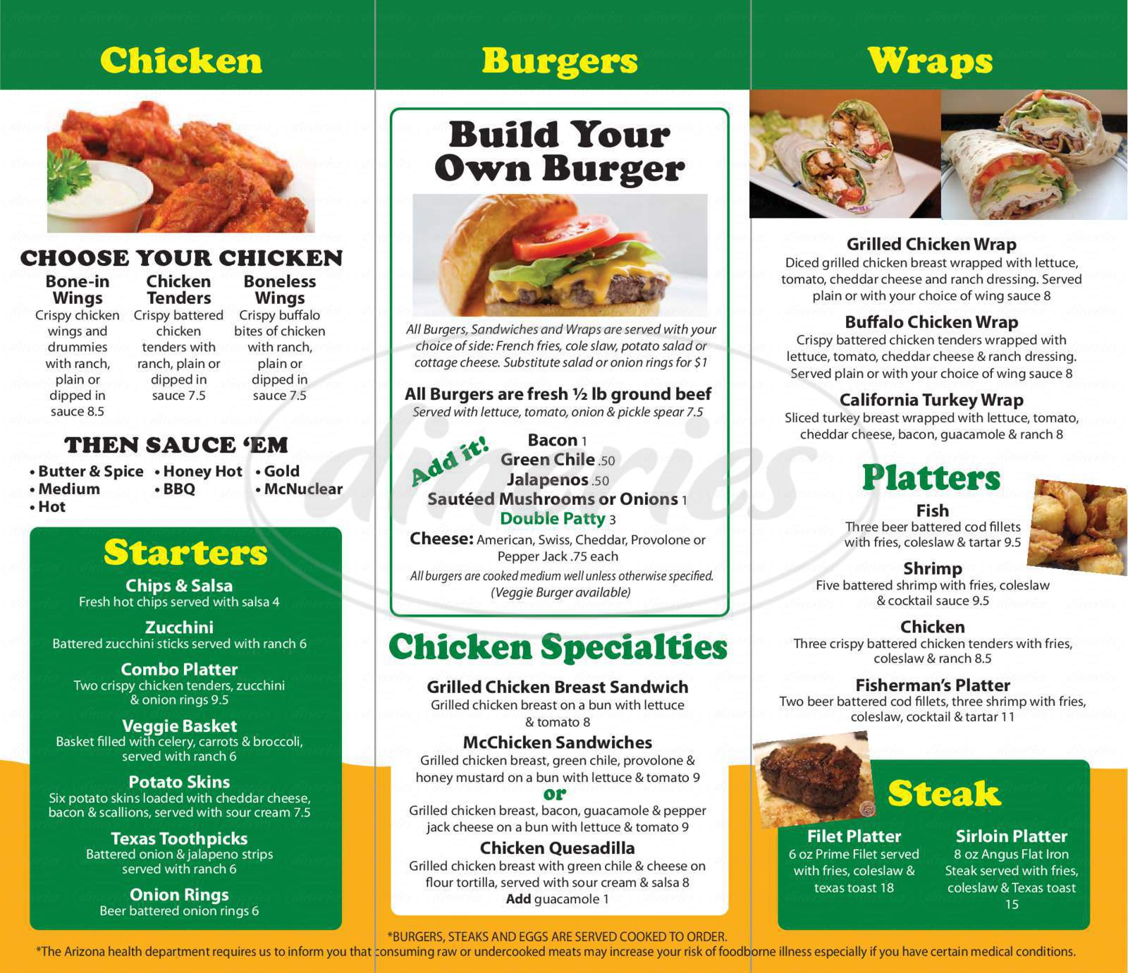menu for McMashers Sports Bar & Grill