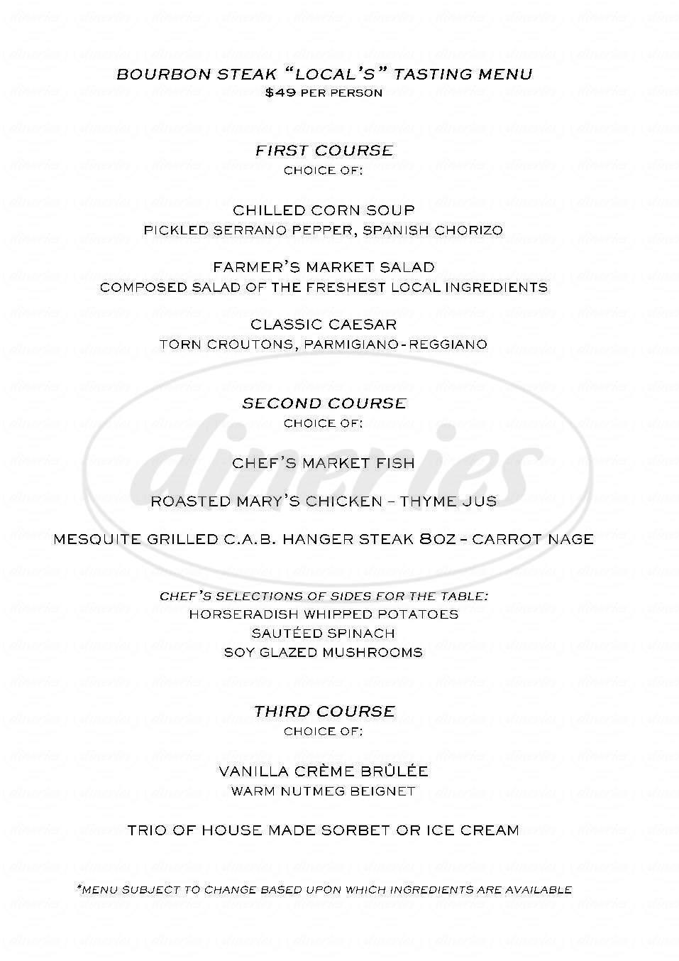 menu for Bourbon Steak a Michael Mina Restaurant