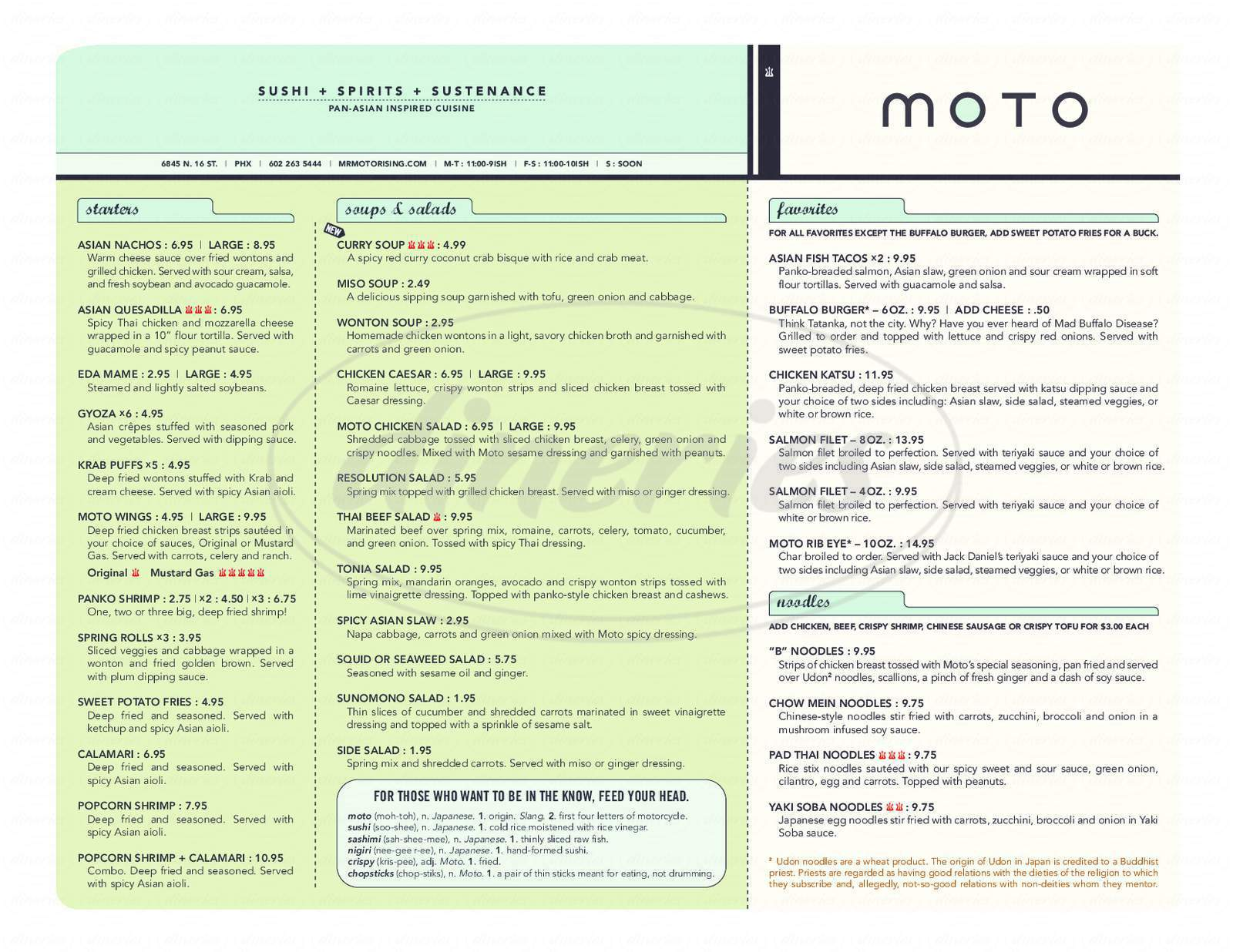 menu for Moto Sushi