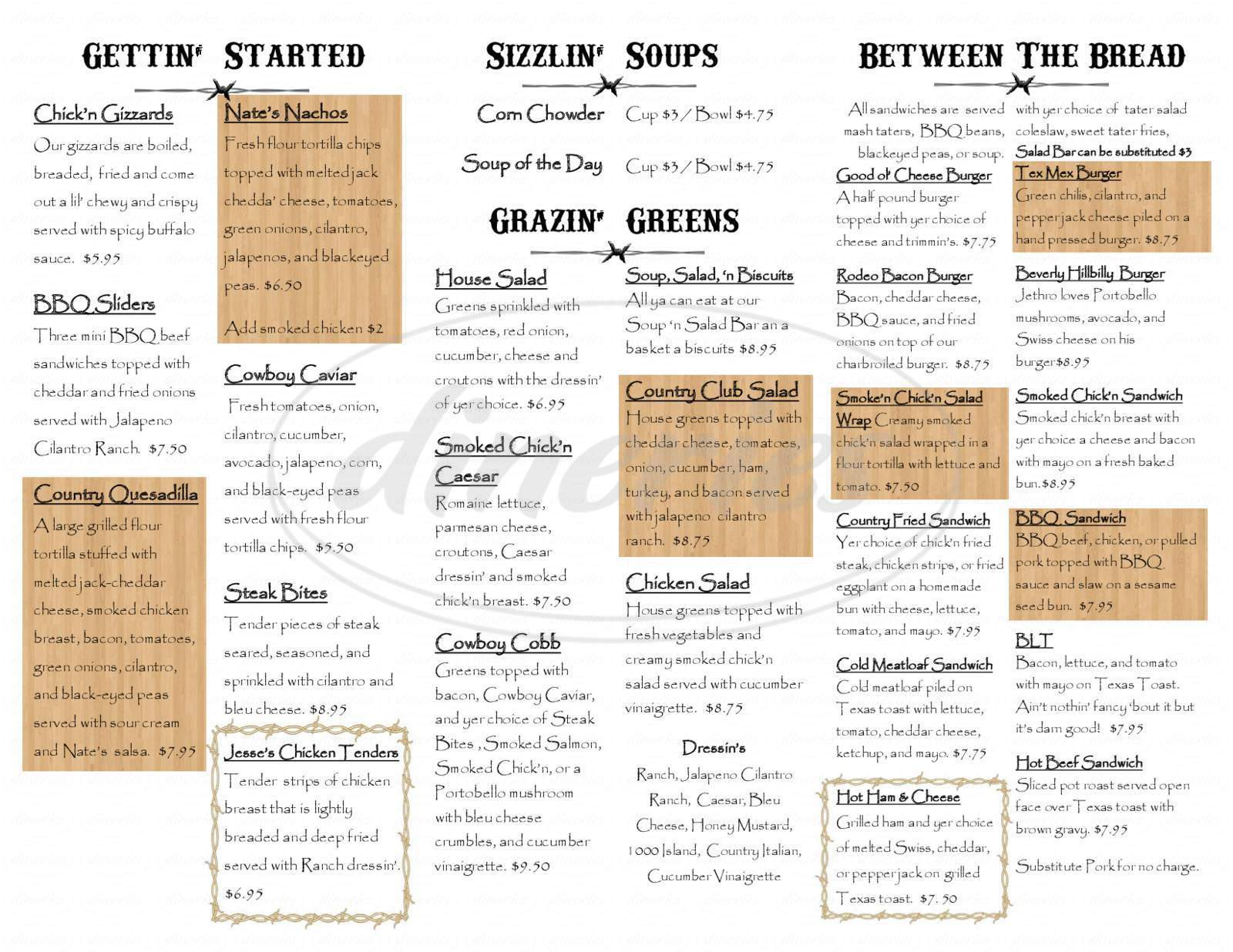 menu for Nate's Cowboy Cafe