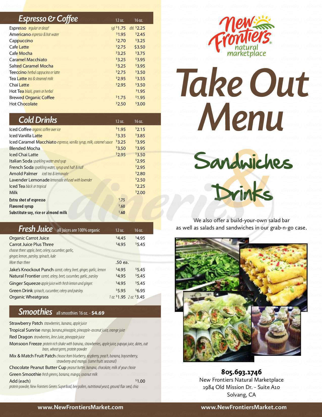 menu for New Frontiers Natural Marketplace