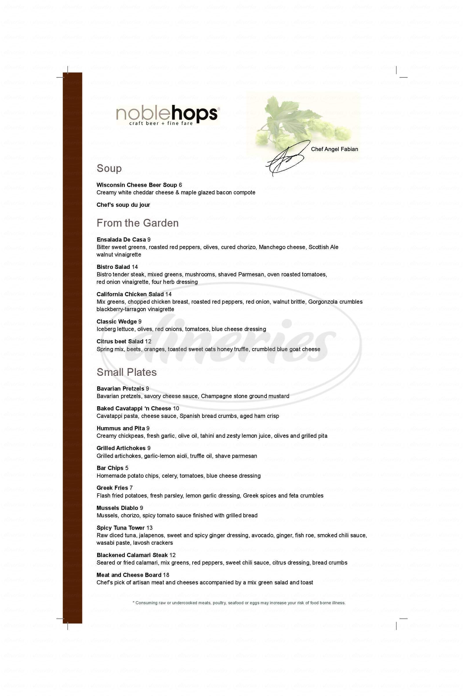 menu for Noble Hops