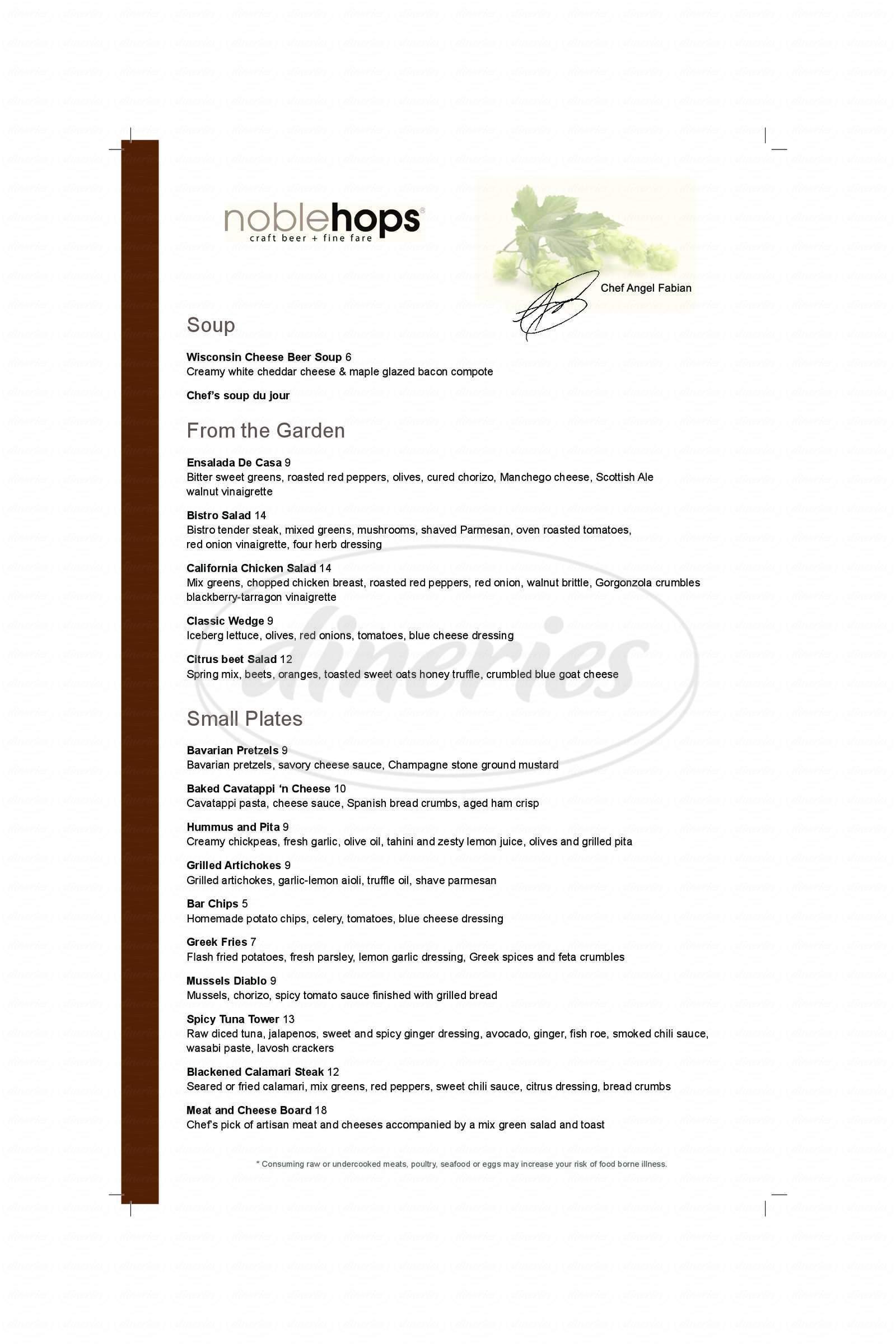 menu for Noble Hops