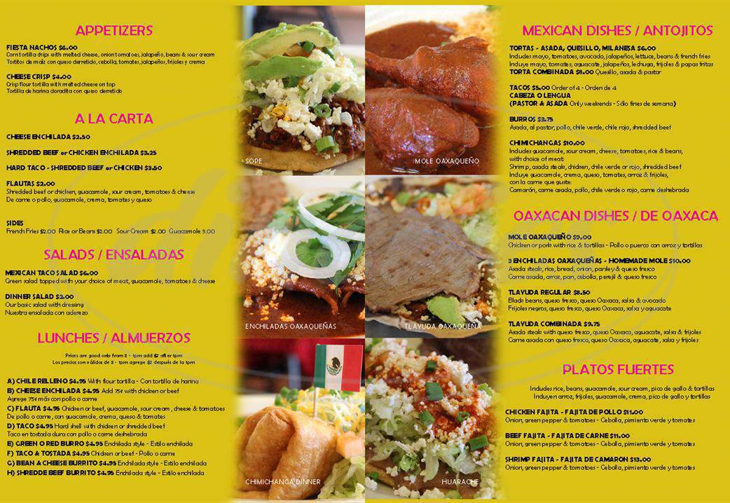 menu for La Oaxaquena Mexican Restaurant