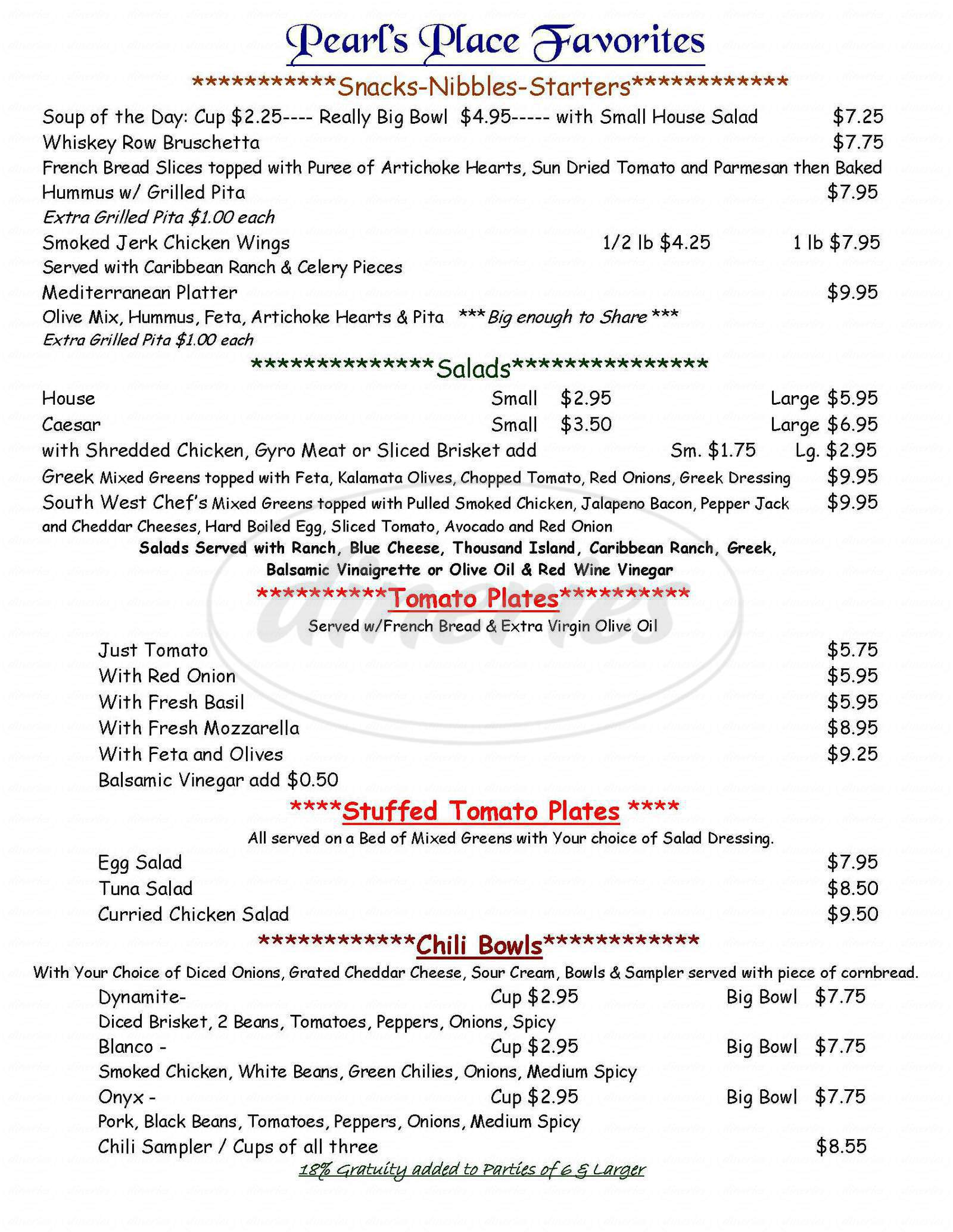 menu for Pearl's Place Cafe