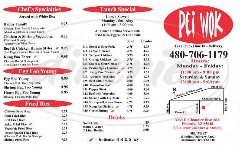 menu for Pei Wok
