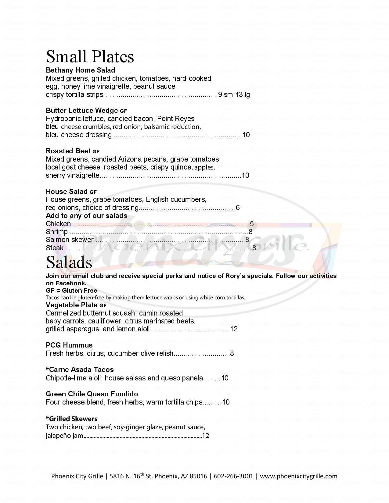menu for Phoenix City Grille