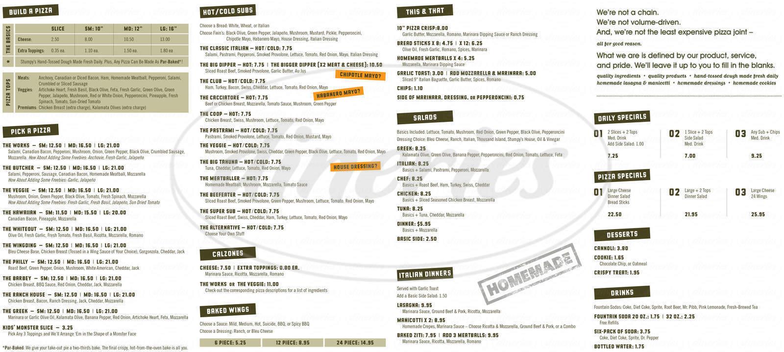 menu for Stumpys Pizza