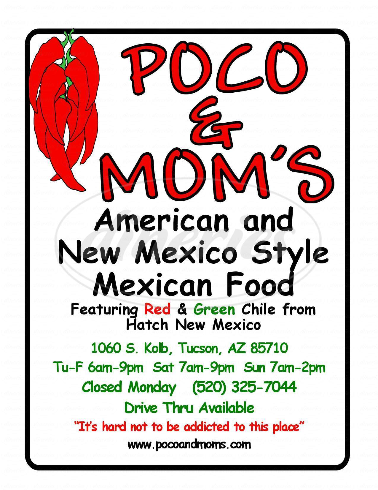 menu for Poco & Mom's