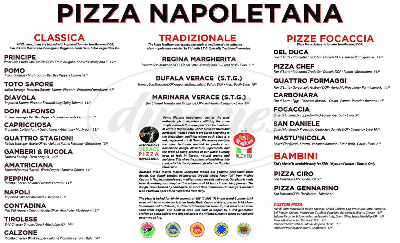 menu for Pomo Pizzeria Napoletana