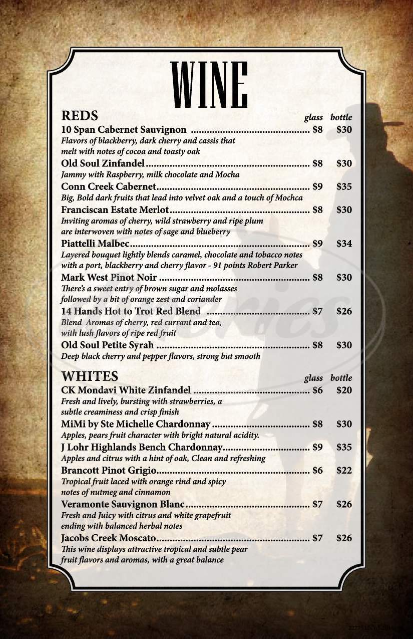 menu for Porter Mountain Steakhouse