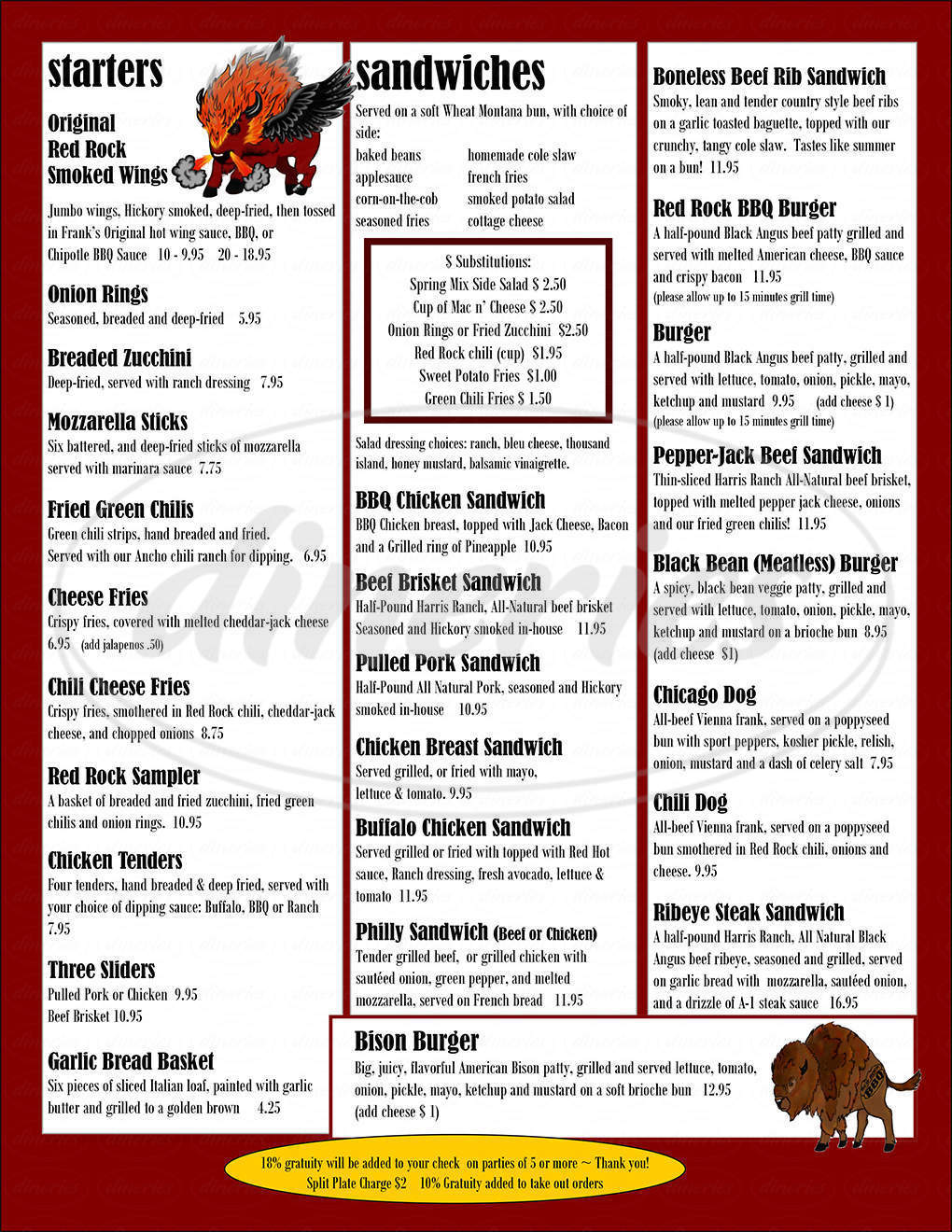 menu for Red Rock BBQ Co
