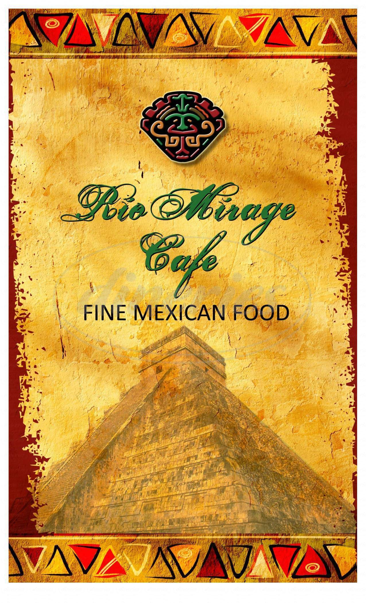 menu for Rio Mirage Cafe Y Cantina