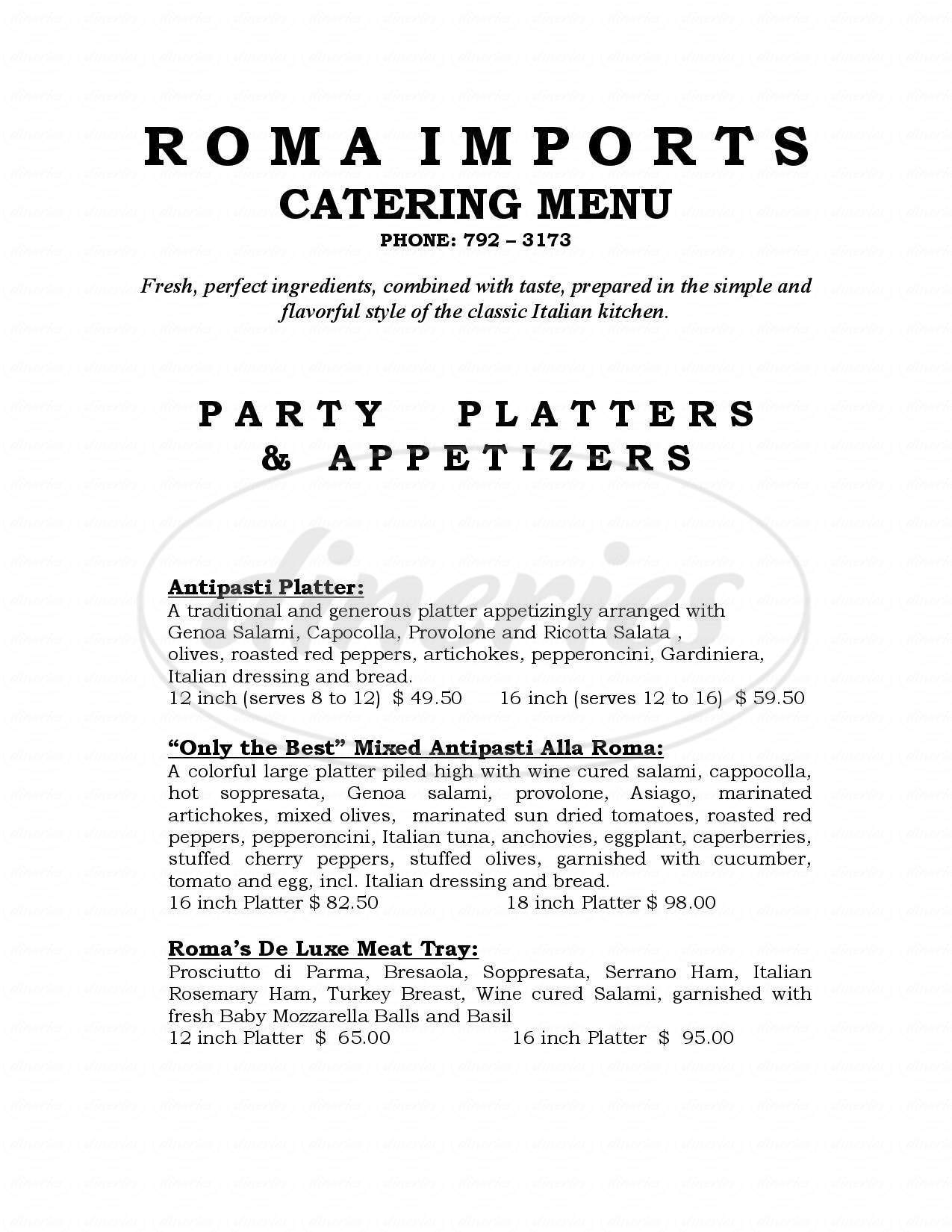 menu for Roma Imports