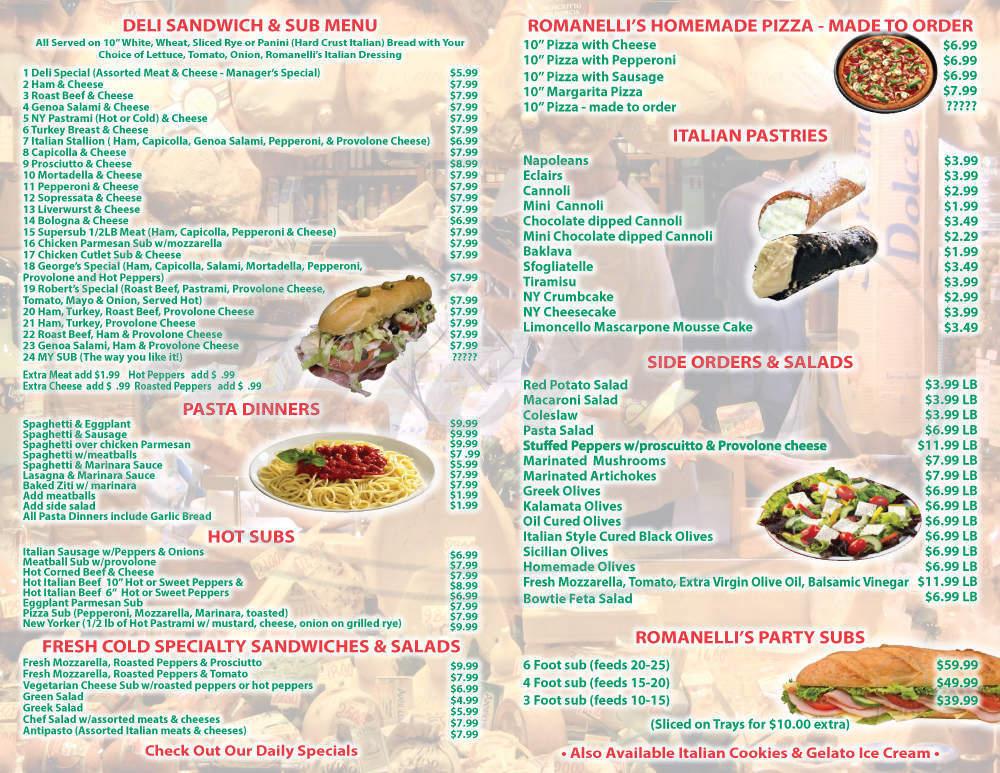 menu for Romanelli's Deli & Bakery