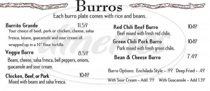 menu for Rosa's Mexican Grill