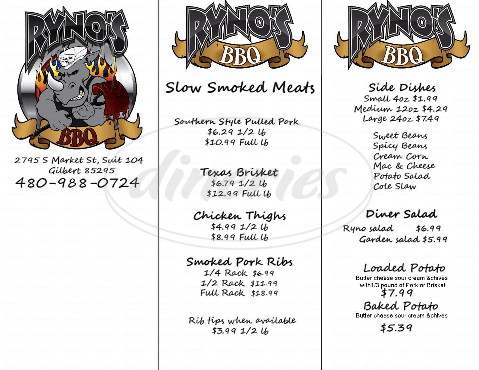 menu for Ryno's BBQ