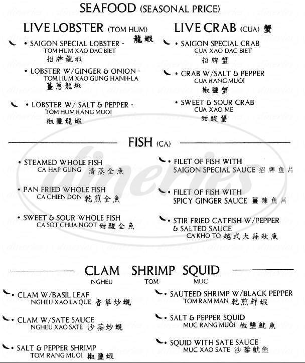 menu for Saigon Pho
