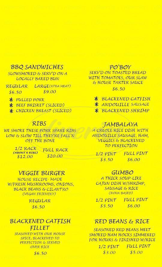 menu for Satchmo's