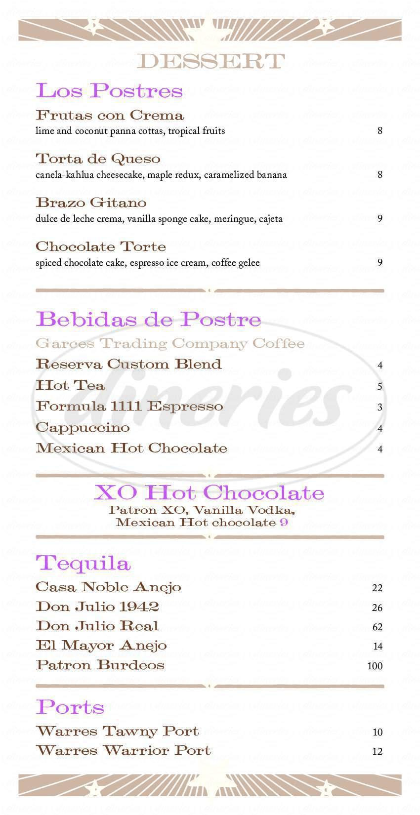 menu for Distrito