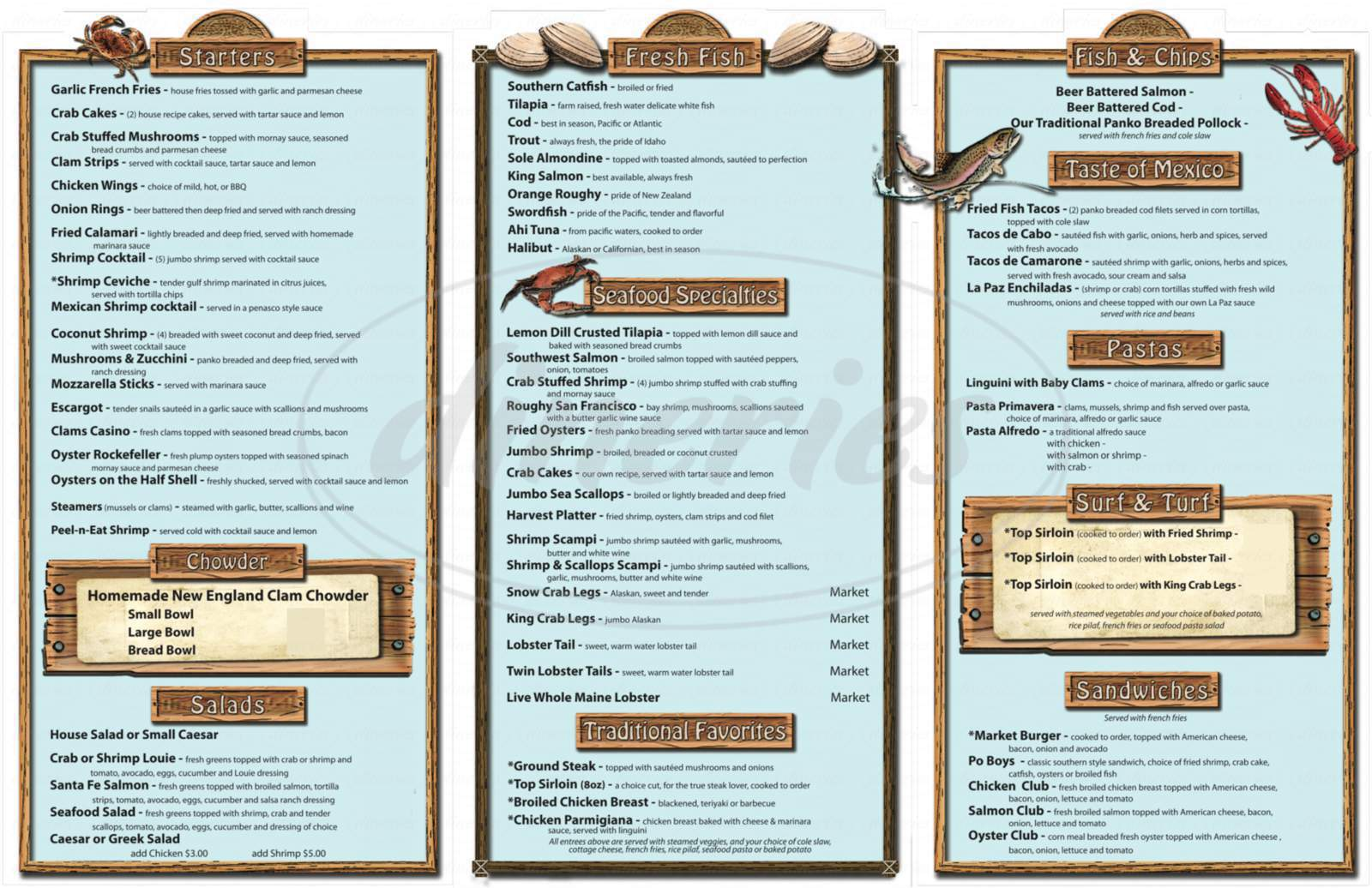 menu for Seafood Market & Restaurant