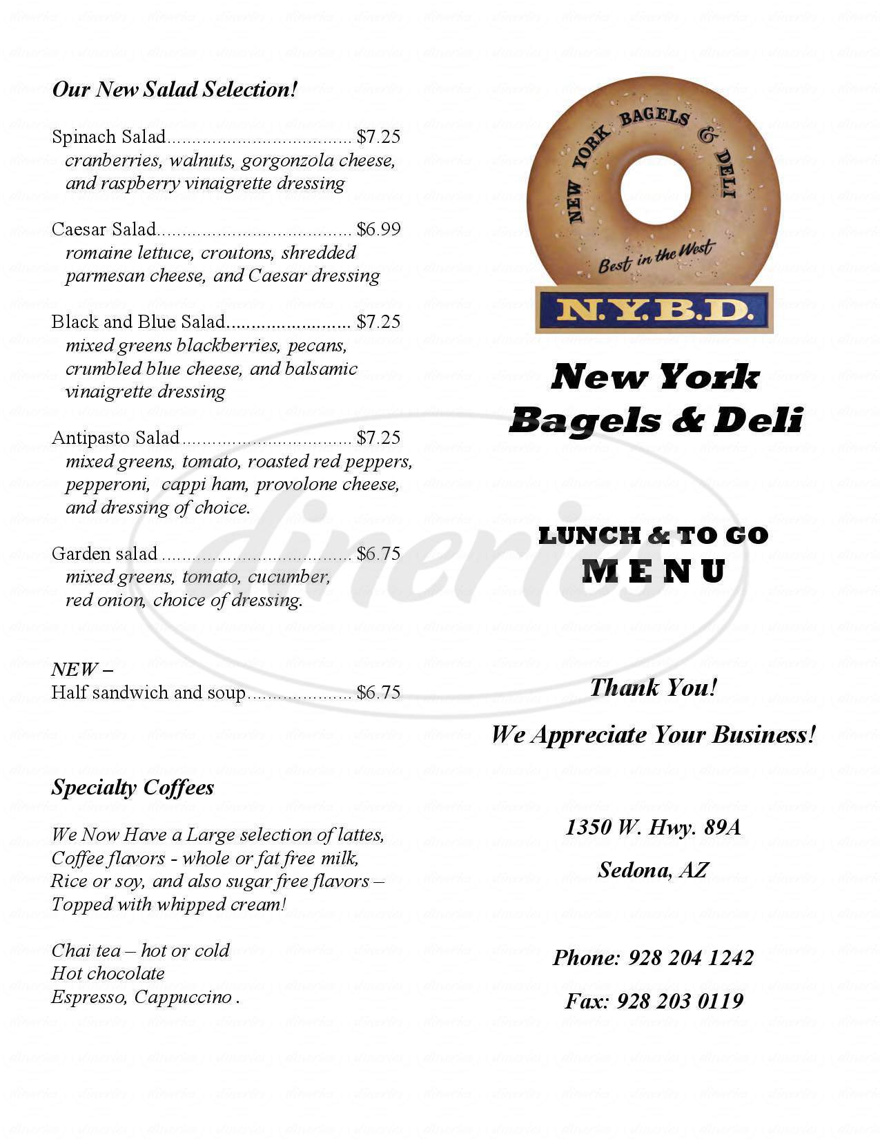 menu for New York Bagels