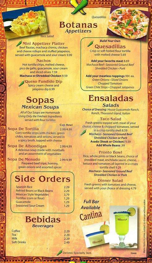 menu for Serrano's Mexican Restaurant