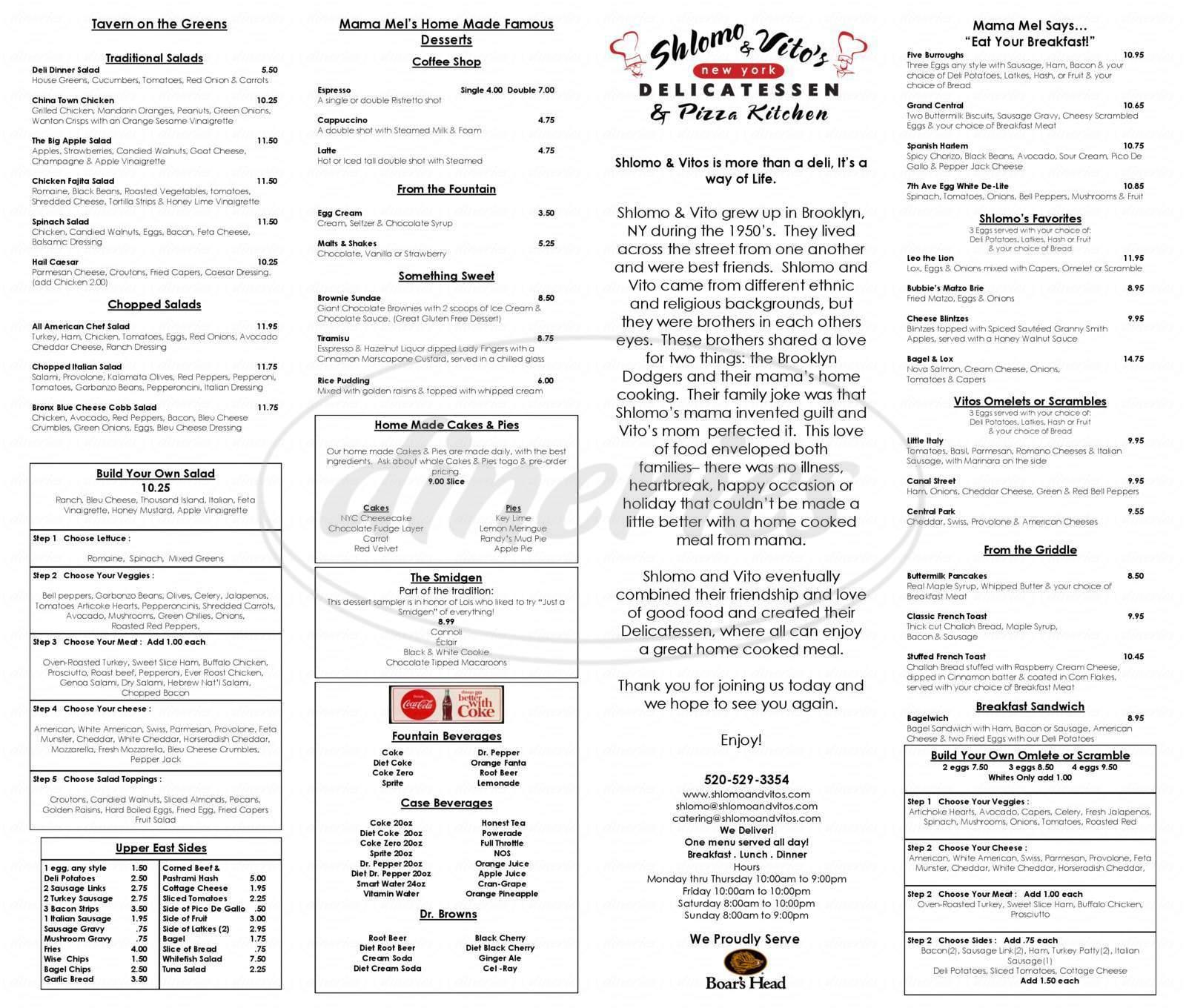 menu for Shlomo & Vito's New York Delicatessen & Pizza Kitchen
