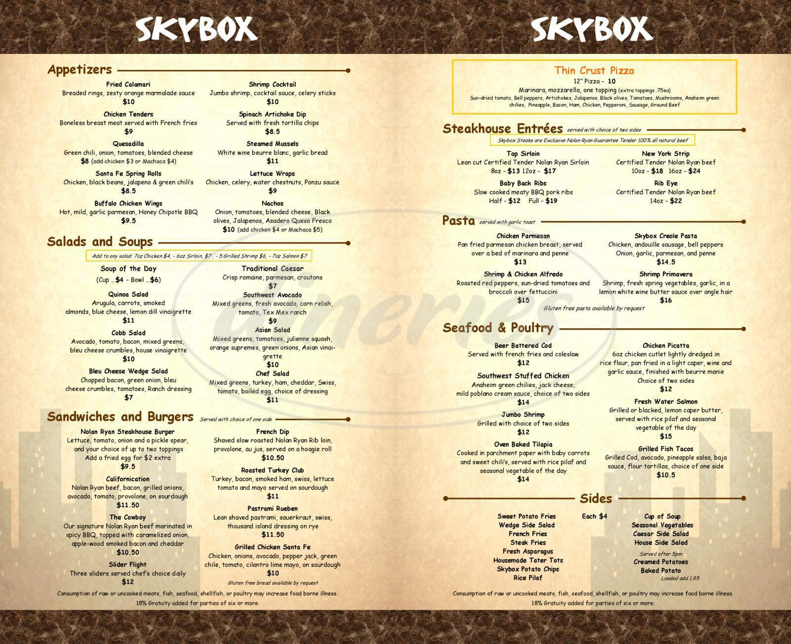 menu for Skybox Restaurant and Sports Bar