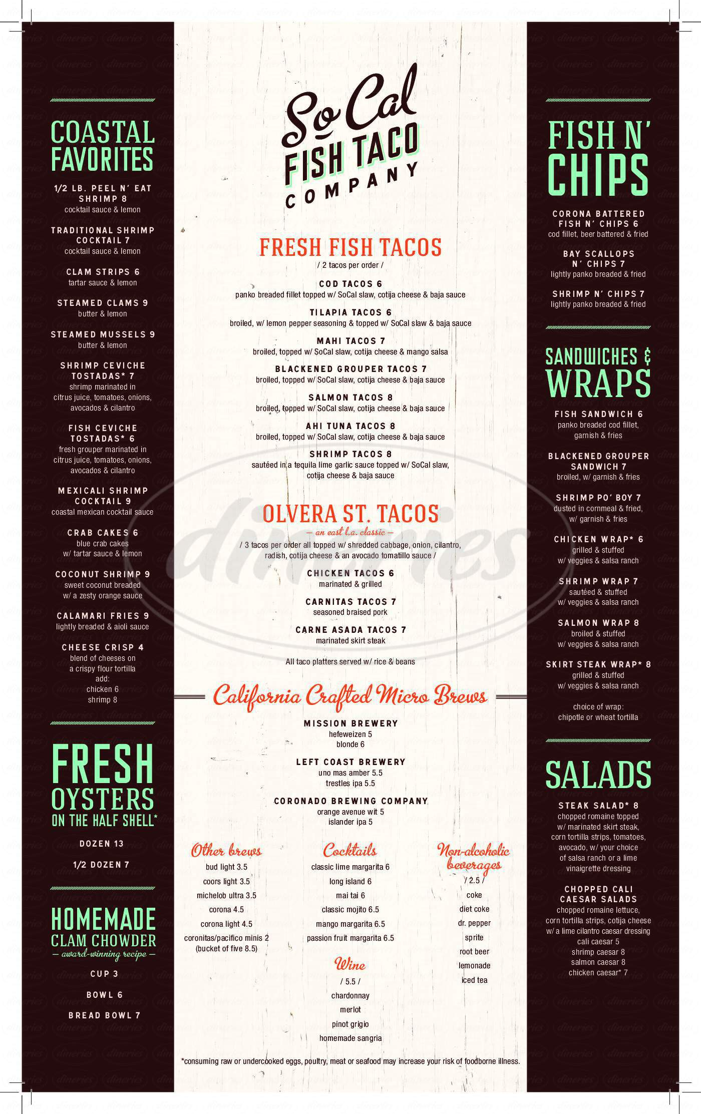 menu for So-Cal Fish Taco Company