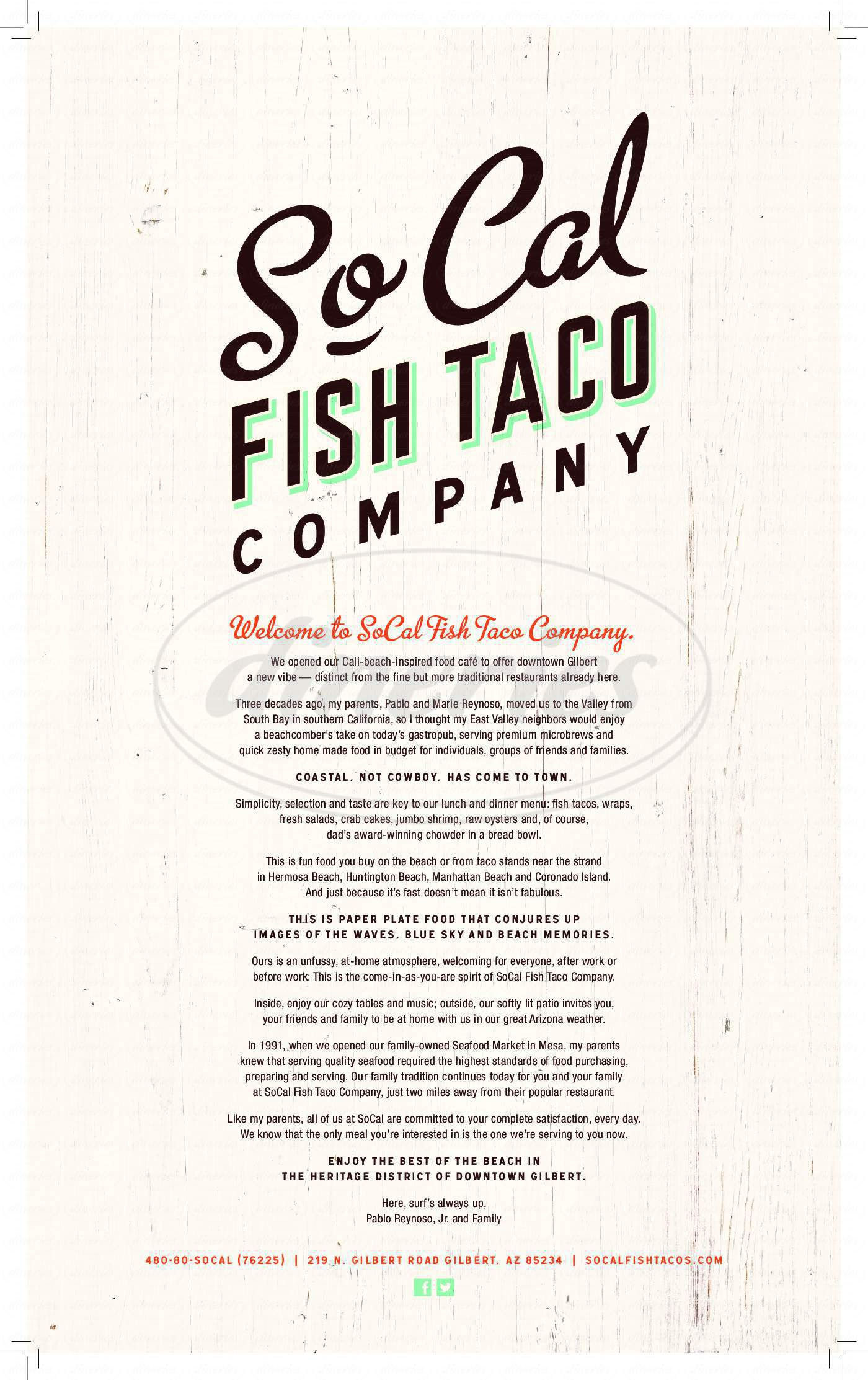 menu for So-Cal Fish Taco Company