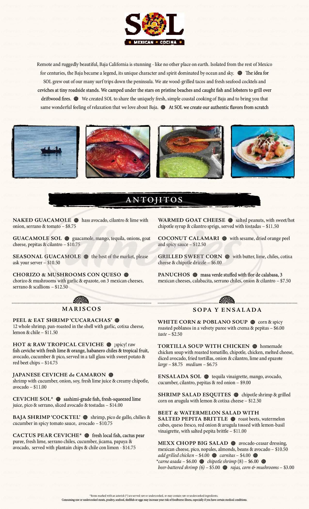 menu for SOL Mexican Cocina