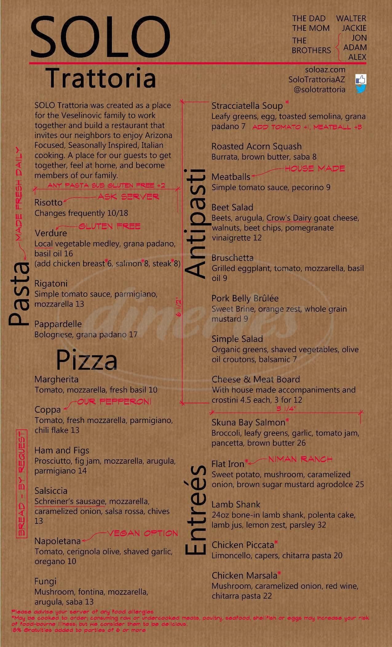 menu for SOLO Trattoria