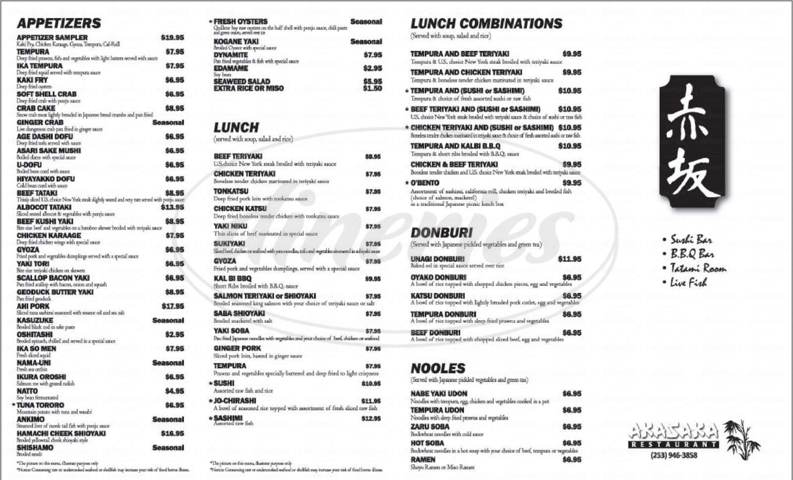 menu for Akasaka Restaurant