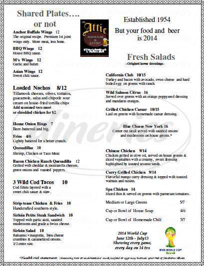menu for The Attic Alehouse & Eatery