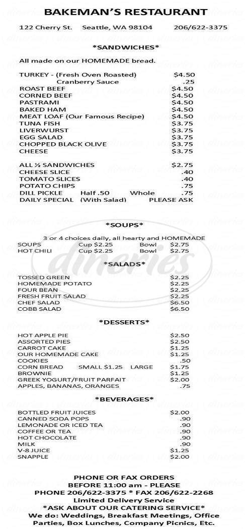 menu for Bakeman's Restaurant