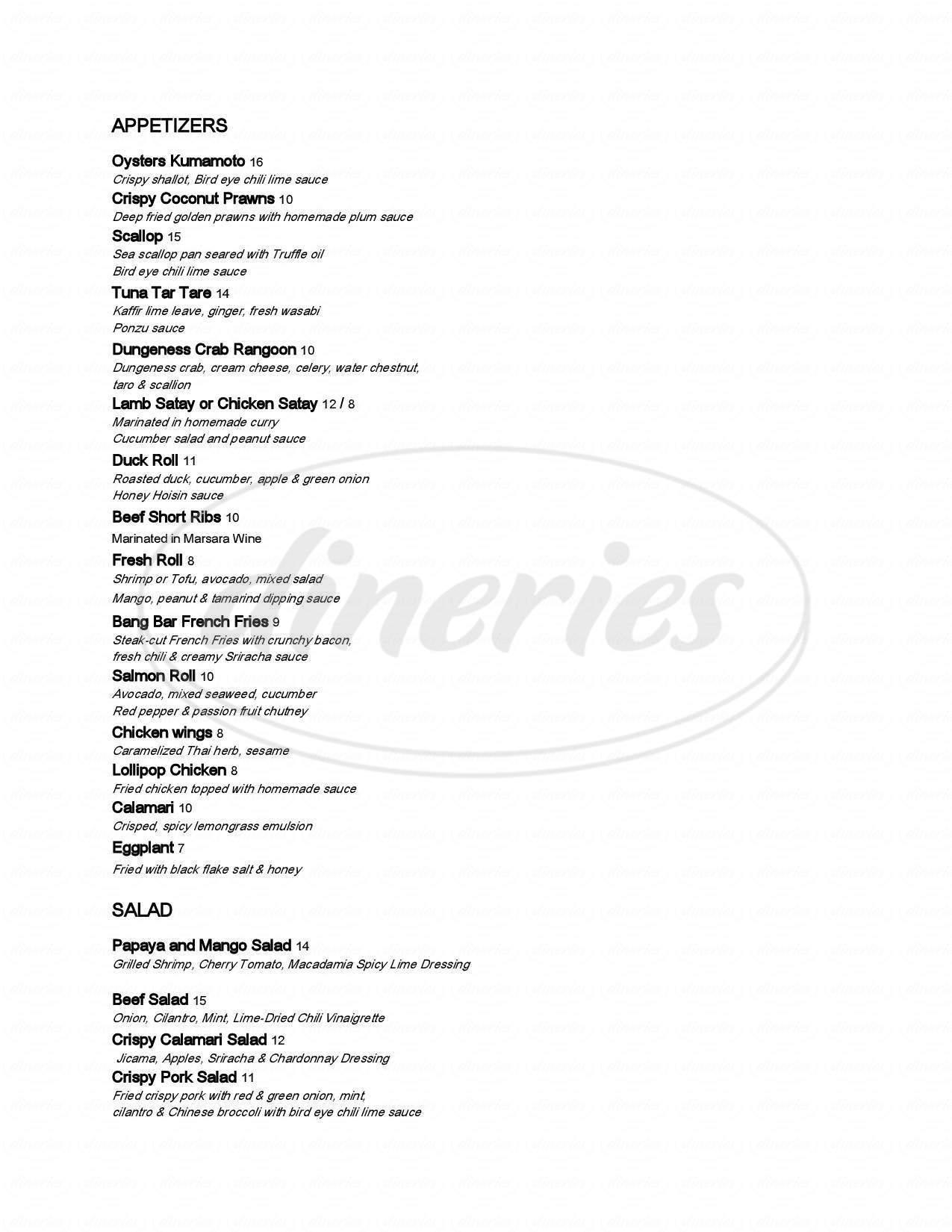 menu for Bang Bar Thai Restaurant and Lounge