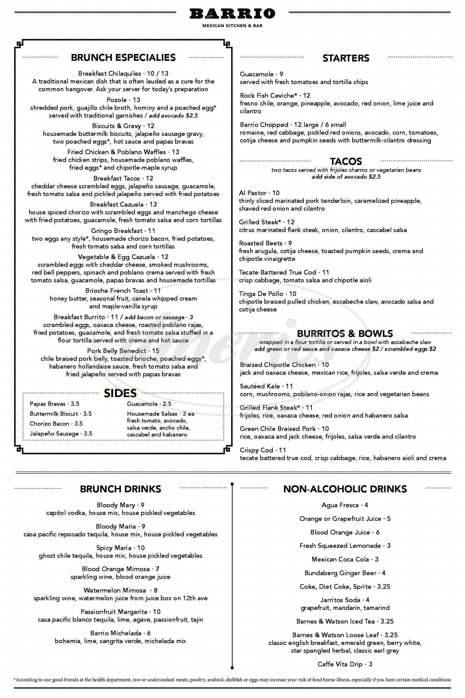 menu for Barrio Mexican Kitchen & Bar