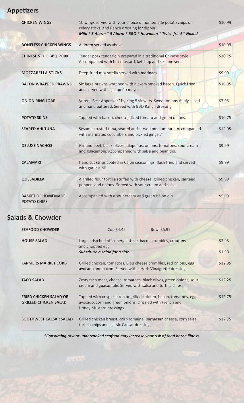 menu for Billy McHale's Restaurants