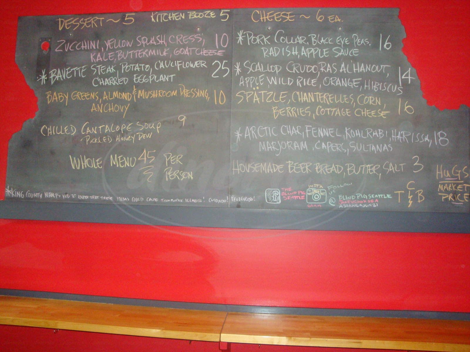 menu for Blind Pig Bistro