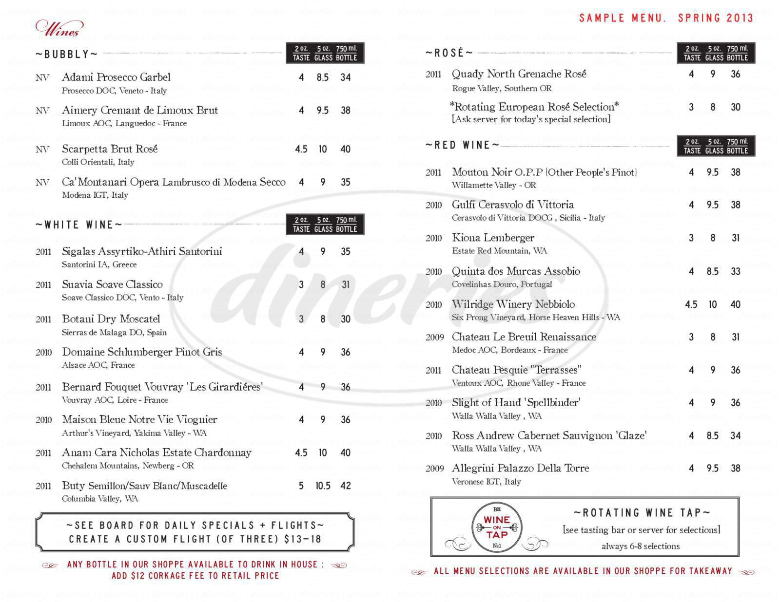 menu for Bottlehouse